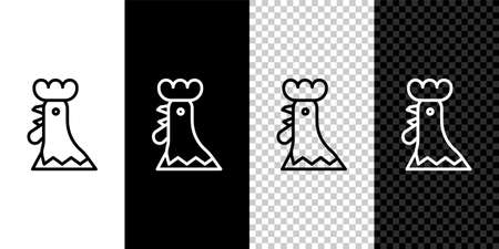 Set line French rooster icon isolated on black and white background. Vector