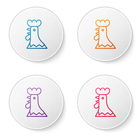 Color line French rooster icon isolated on white background. Set icons in circle buttons. Vector