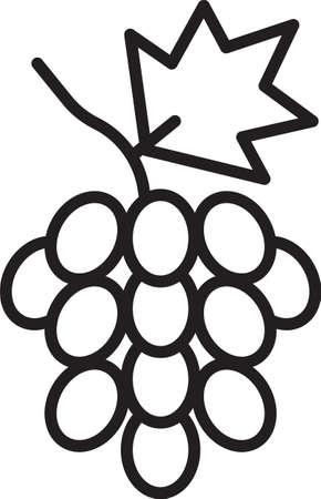 Black line Grape fruit icon isolated on white background. Vector Vecteurs