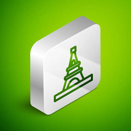 Isometric line Eiffel tower icon isolated on green background. France Paris landmark symbol. Silver square button. Vector
