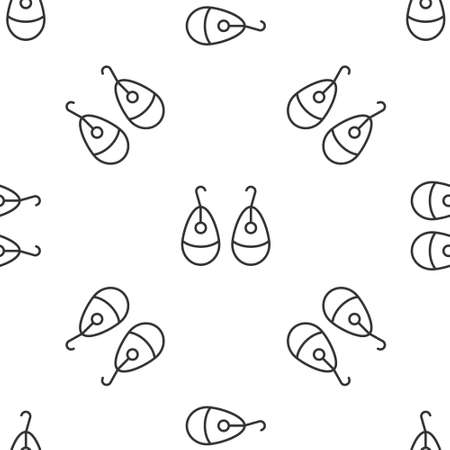 Grey line Earrings icon isolated seamless pattern on white background. Jewelry accessories. Vector