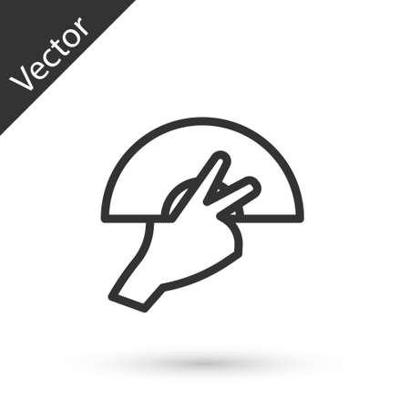 Grey line Female hand with open fan flamenco accessory icon isolated on white background. Vector 向量圖像