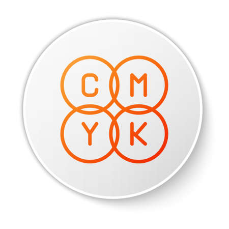 Orange line CMYK color mixing icon isolated on white background. White circle button. Vector