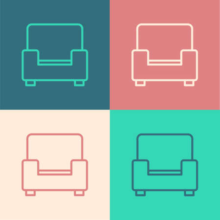Pop art line Armchair icon isolated on color background. Vector
