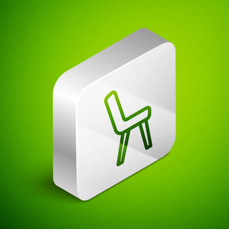 Isometric line Armchair icon isolated on green background. Silver square button. Vector 向量圖像