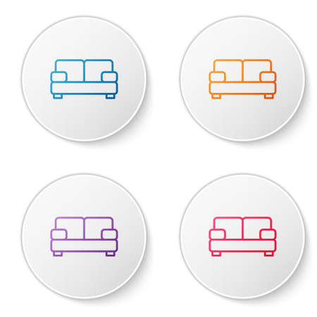 Color line Sofa icon isolated on white background. Set icons in circle buttons. Vector