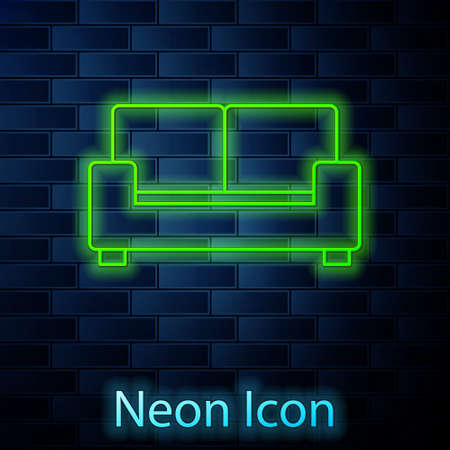Glowing neon line Sofa icon isolated on brick wall background. Vector