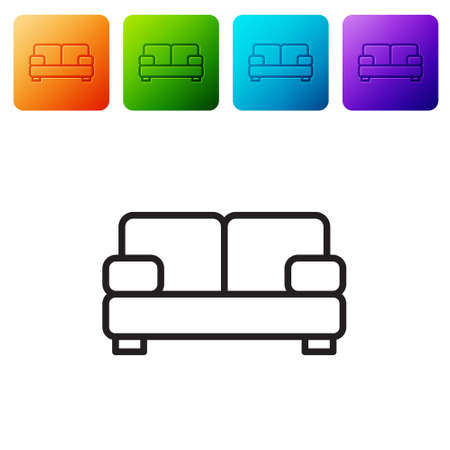 Black line Sofa icon isolated on white background. Set icons in color square buttons. Vector 向量圖像