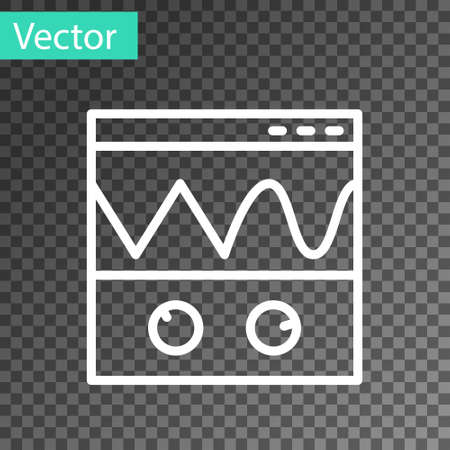 White line Oscilloscope measurement signal wave icon isolated on transparent background. Vector