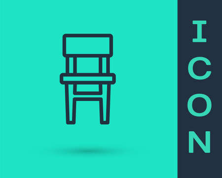 Black line Chair icon isolated on green background. Vector