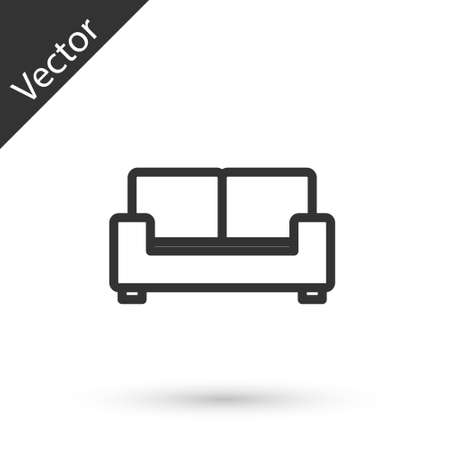 Grey line Sofa icon isolated on white background. Vector 向量圖像