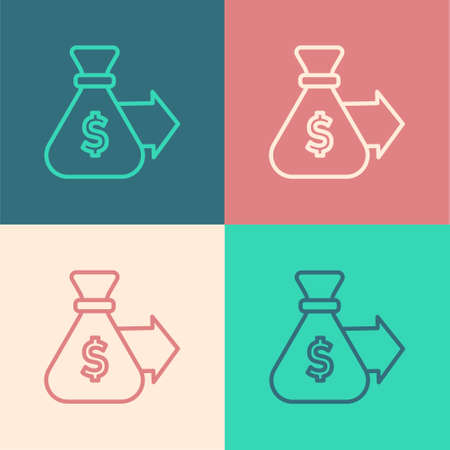 Pop art line Money bag icon isolated on color background. Dollar or USD symbol. Cash Banking currency sign. Vector