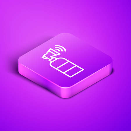 Isometric line Air horn icon isolated on purple background. Sport fans or citizens against government and corruption. Purple square button. Vector Vettoriali