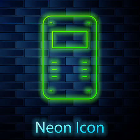 Glowing neon line Police assault shield icon isolated on brick wall background. Vector Vettoriali