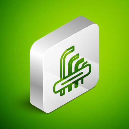 Isometric line Tool allen keys icon isolated on green background. Silver square button. Vector