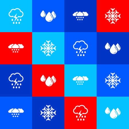 Set Cloud with rain and lightning, Water drop, snow and Snowflake icon. Vector