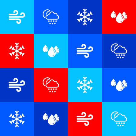 Set Wind, Cloud with snow and moon, Snowflake and Water drop icon. Vector  イラスト・ベクター素材