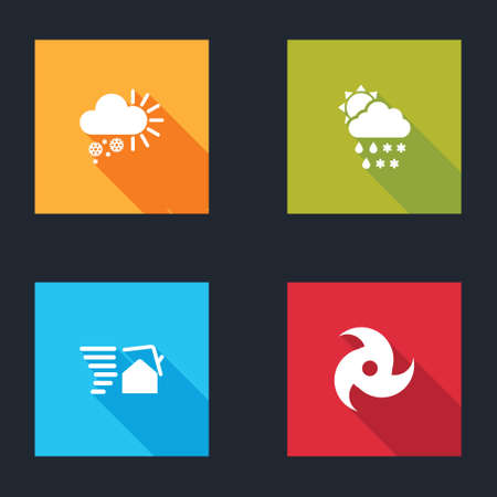 Set Cloudy with snow, snow, rain, sun, Tornado swirl and icon. Vector