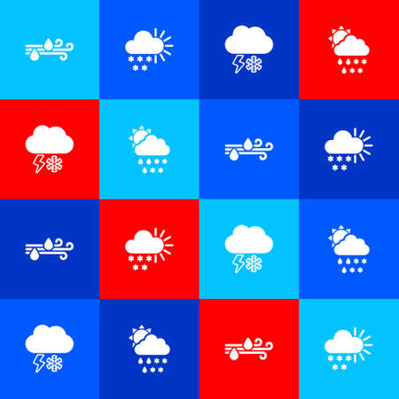 Set Wind and rain, Cloudy with snow, lightning and sun icon. Vector