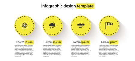 Set Tornado, Cloudy with snow, and rain and Cone meteorology windsock wind vane. Business infographic template. Vector Vektoros illusztráció