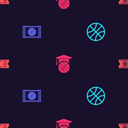 Set Basketball ball, game video, training and ticket on seamless pattern. Vector