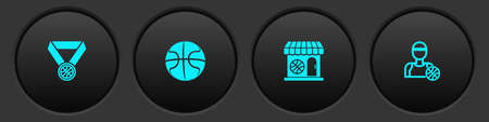 Set Basketball medal, , Sports shop and basketball and player icon. Vector  イラスト・ベクター素材