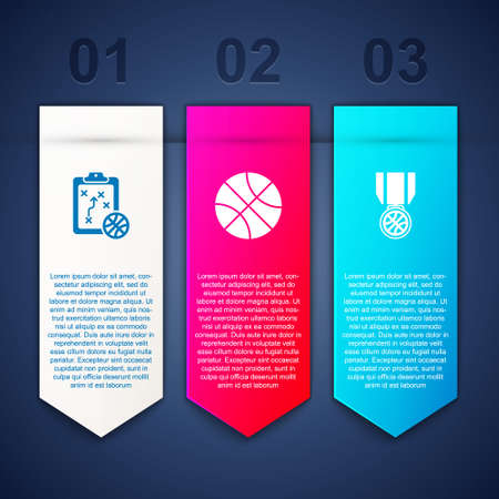 Set Planning strategy, Basketball ball and medal. Business infographic template. Vector