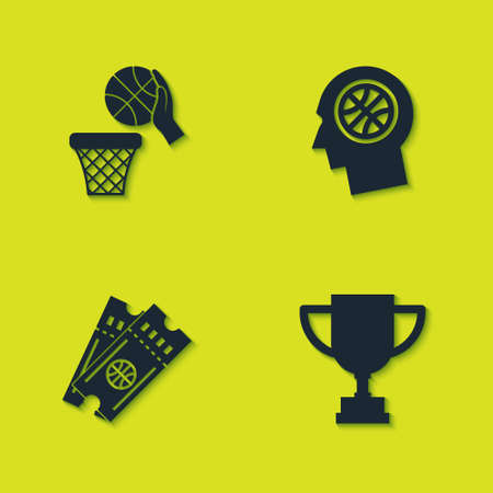 Set Basketball ball and basket, Award cup, game ticket and Thoughts on basketball icon. Vector  イラスト・ベクター素材