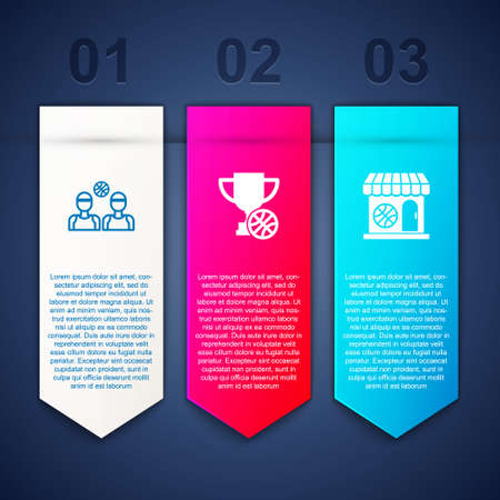 Set Basketball players, Award cup with basketball and Sports shop and. Business infographic template. Vector