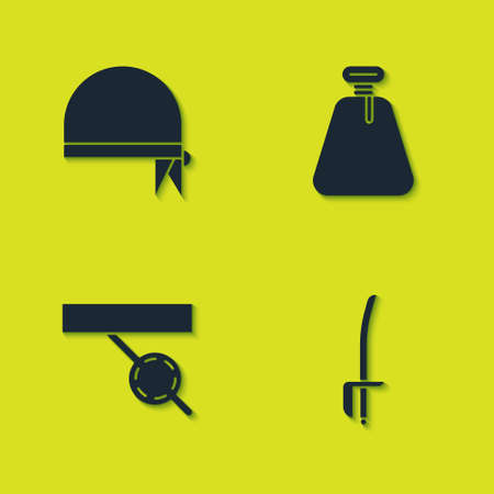 Set Pirate bandana for head, sword, eye patch and sack icon. Vector