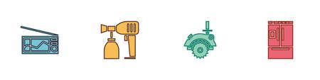Set Radio, Paint spray gun, Electric circular saw and Refrigerator icon. Vector