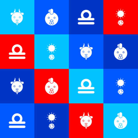 Set Aries zodiac, Rooster, Libra and Solstice icon. Vector Vettoriali