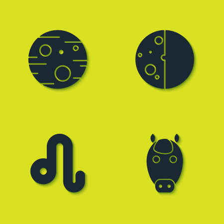 Set Planet Mars, Horse zodiac, Leo and Eclipse of the sun icon. Vector
