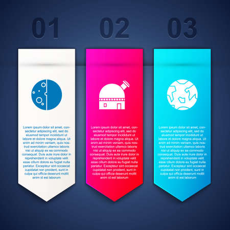 Set Eclipse of the sun, Astronomical observatory and Planet Earth. Business infographic template. Vector