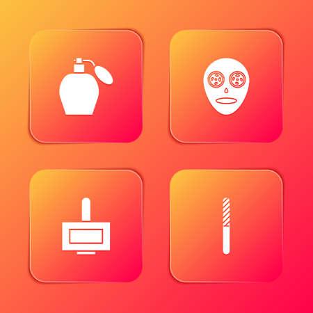 Set Perfume, Facial cosmetic mask, Nail polish bottle and file icon. Vector
