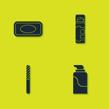 Set Bar of soap, Cream cosmetic tube, Nail file and Shaving gel foam icon. Vector
