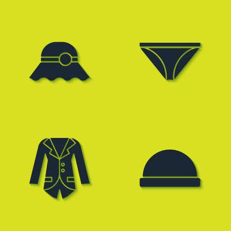 Set Elegant women hat, Beanie, Blazer or jacket and Men underpants icon. Vector
