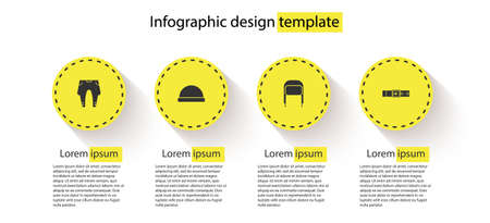Set Pants, Beanie hat, Winter with ear flaps and Leather belt. Business infographic template. Vector