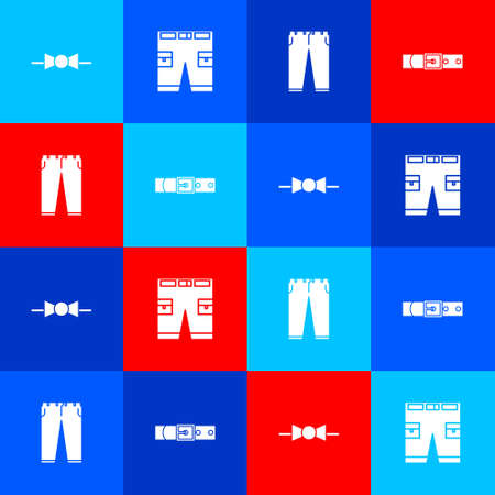 Set Bow tie, Short or pants, Pants and Leather belt icon. Vector
