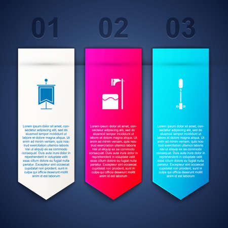 Set Medieval flag, Executioner axe in tree block and Torch flame. Business infographic template. Vector