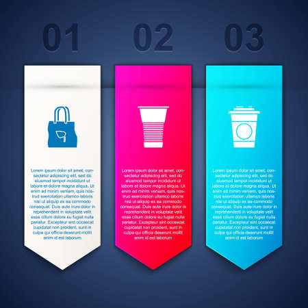 Set Shopping bag with recycle, Paper glass and . Business infographic template. Vector