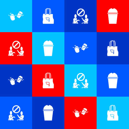 Set Problem pollution of the ocean, Shopping bag with recycle, Stop plastic and Paper glass water icon. Vector