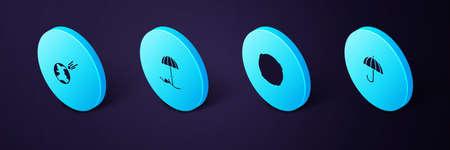 Set Isometric Umbrella, Moon, Sun protective umbrella for beach and Comet falling down fast icon. Vector