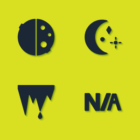 Set Eclipse of the sun, Not applicable, Icicle and Moon and stars icon. Vector Vettoriali