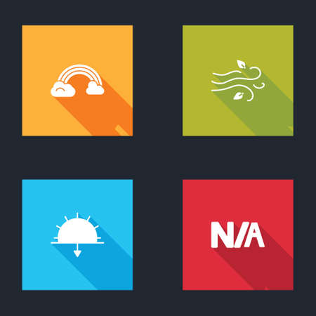Set Rainbow with clouds, Wind, Sunset and Not applicable icon. Vector