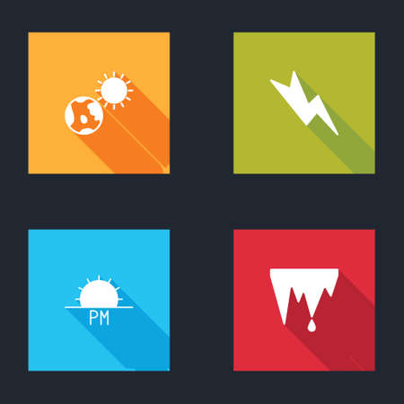 Set Earth globe and sun, Lightning bolt, Sunset and Icicle icon. Vector
