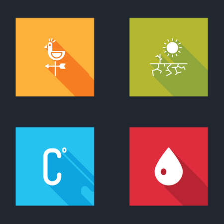 Set Rooster weather vane, Drought, Celsius and Water drop icon. Vector