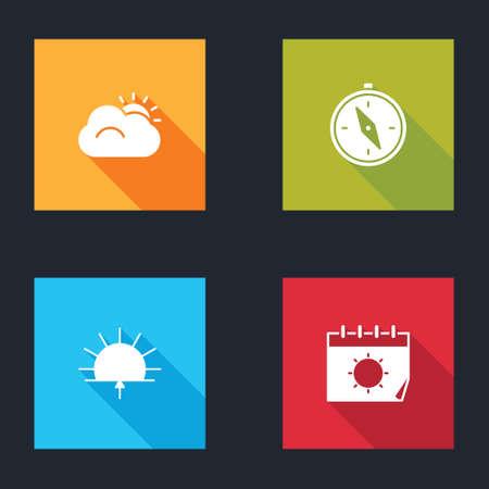 Set Sun and cloud, Compass, Sunrise and Calendar sun icon. Vector Vettoriali