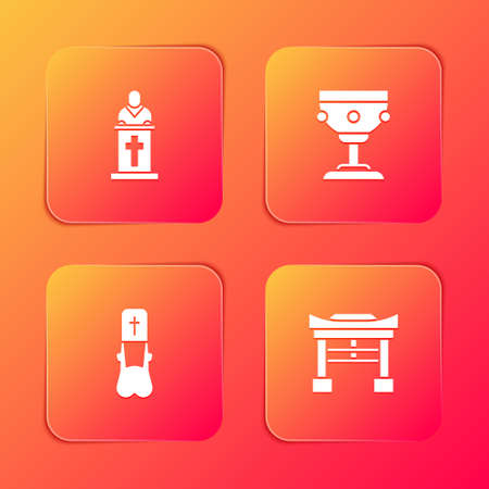 Set Church pastor preaching, Christian chalice, Priest and Japan Gate icon. Vector