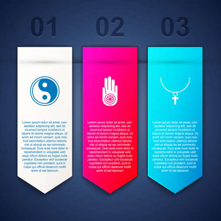 Set Yin Yang, Jainism or Jain Dharma and Christian cross on chain. Business infographic template. Vector